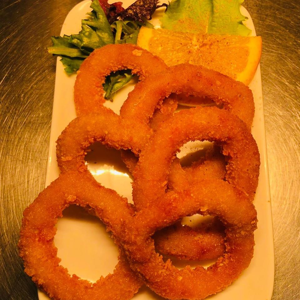 Onion rings in royal time indian restaurant in lilydale,melbourne,australia.