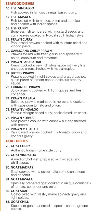 Seafood Dishes Menu of royal time indian restaurant in lilydale