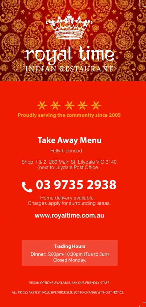 royal time indian restaurant in lilydale